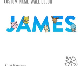 Cute Pokemon Custom Name Printable Wall Art