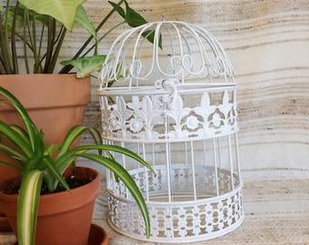 Metal bird cage/white metal centerpiece