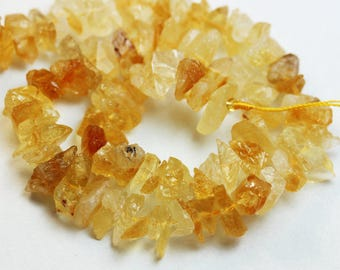 Raw Citrine, 10mm Chips Gemstone Strand, Center drilled Natural shape,One full strand,hole1mm -GEM0593