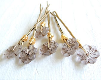 White Gold Flower Decorative Bobby Pins Wire Wrapped Czech Glass Floral Hair Pins Bohemian Romantic Hair Accessory Boho Wedding Accessory