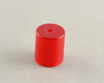 Red Vintage Bead, 10mm Acrylic Focal Bead, Red Barrel Bead, One