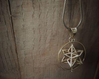 sacred geometry: 1 dimension spinning Solar star (brass)