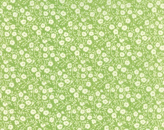 Fabric by Moda: Hello Darling by Bonnie and Camille green with cream flowers