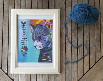 Cat & her fishbone Art Print, Wall Decor, Kids Art, Cat Lover, Wall Art, Animal Art, Colorful Art, Art Gift, Cat art art, 3 sizes