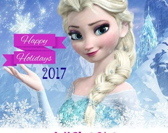 Personalized Elsa Frozen 2017 Happy Holidays Glass Ornament
