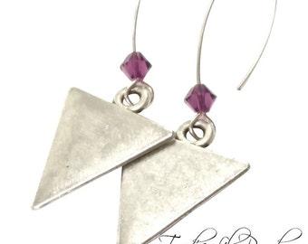 Triangle Drop Earrings | Purple Earrings | Triangle Earrings | Crystal Earrings | Purple Swarovski Earrings | Triangle Jewelry | Geometric