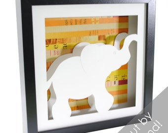 elephant- shadowbox made from recycled magazines, animal, africa, zoo, asia, wild