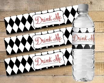 Alice In Wonderland Printable Water Bottle Labels