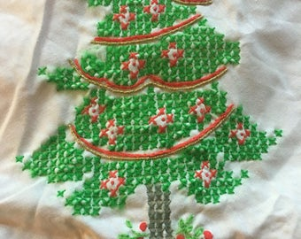 Gorgeous vintage hand embroidered Christmas tree skirt