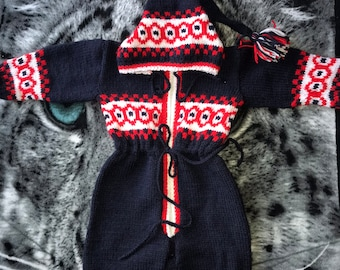 Baby Handmade Knitted Overall, size 9m-18m,
