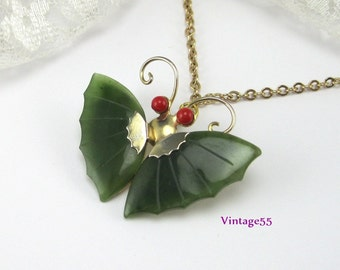 Vintage Jade Butterfly Brooch Pendant with Chain