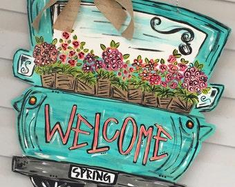 spring door hanger + summer door hanger // turquoise + coral + pink // door decor // front door hanger