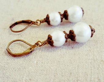 White Pearl Earrings • White Pearl Dangle Earrings • White Pearl Drop Earrings • Antique Style Earrings • Vintage Style Jewelry