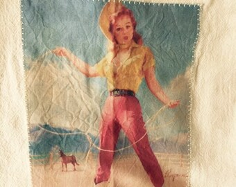 Ropin' pinup girl floursack tea towel