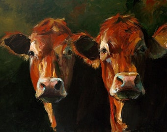 Cow Print-  Two Limousins - Paper Giclee Print of an original painting by Cari Humphry