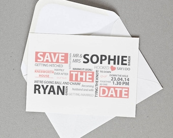 Word Art Wedding Save the Date Personalised