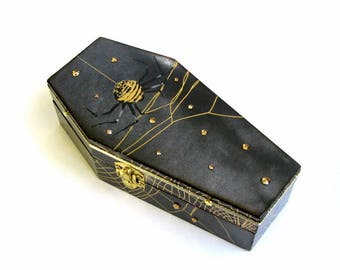 Halloween Coffin Box  Black and Gold Spiders and Cobwebs Halloween Decor Decoration Goth Gothic Jewelry Box Decorated Coffin Trinket Box