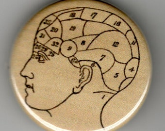 Phrenology Head Diagram 1.25 inch Pin back BUTTON Vintage Image