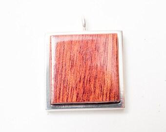 Bloodwood Silver Pendant