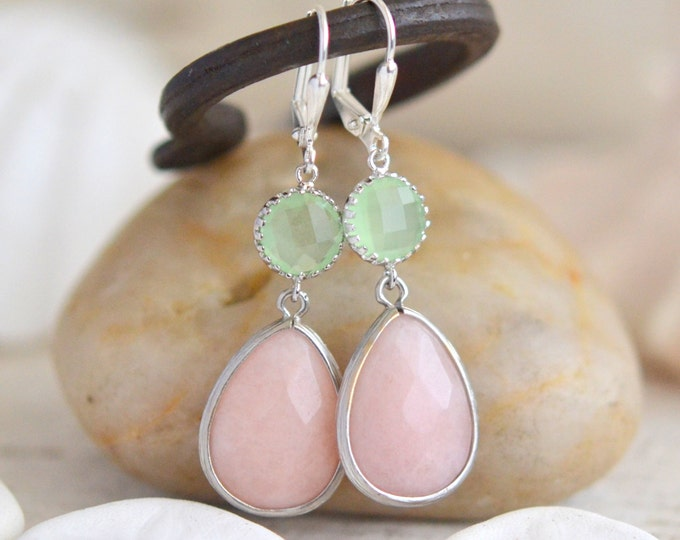 Soft Peach and Mint Bridesmaid Earrings in Silver. Dangle Earrings.  Bridesmaid Jewelry. Spring Wedding Jewelry. Pastel Drop Earrings.