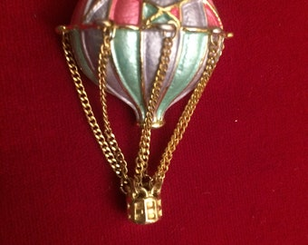 Vintage Gold Tone, Enamel Hot Air Balloon Brooch with Chain and Basket Dangle