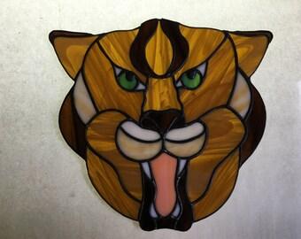Suncatcher Puma, Stain Glass Tiger Suncatcher, Puma Gift, Stain Glass Wall Hanging, Stain Glass Window, Stain Glass Art, Tiger Wall Decor