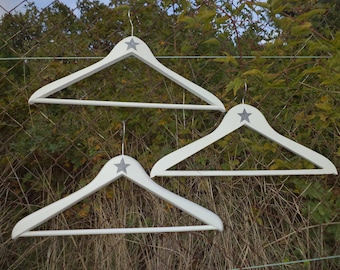 3 white patina old wooden hangers