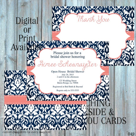 Navy Blue and Coral Bridal Shower Invitation, Damask Bridal Shower Invitation, Rehearsal Dinner Invitation, Couples Shower Invitation 049