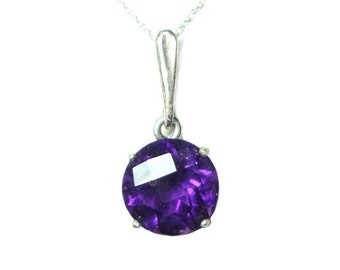 Amethyst sterling silver pendant and chain