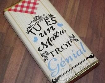 Emballage de tablette de chocolat Tu es un Maître trop génial fin d'année