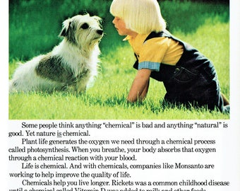1977 Advertisement Monsanto Without Chemicals Life Would Be Impossible Boy Dog Life Is Environment Nature Terrier Wall Art Decor