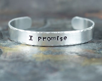 Hand Stamped Bracelet - Promise Bracelet - Hand Stamped Jewelry - Gift for Her - Personalized Engraved Cuff - Expressions Bracelets Mantra