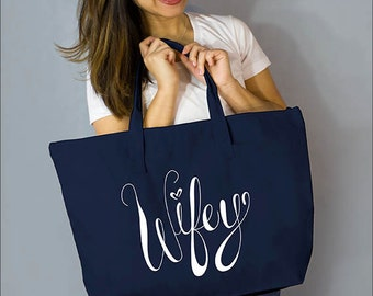 "Navy Wifey Large Zip Tote: 100%  Natural Cotton Canvas 22""W x 15""L x 5""D with Interior Zippered Pocket- Ellafly"