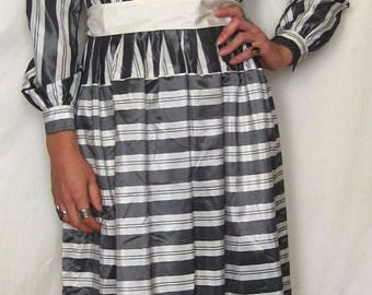 Vintage 1960's Gray and White Striped Skirt Dress