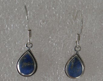 "SALE 1""  Light Delicate Lapis Pear Shape  Sterling Dangle Earring"