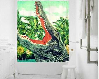 Alligator Art Shower Curtain, Coastal Shower Curtain, Beach Decor Bathroom Florida Gators Fabric Shower Curtain Kids Bathroom Shower Curtain