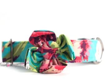 Peneloppe:Floral multicolor Collar & Colorful flower Set Urban Rose Dog Boutique #Dog #Pets #Colorful #Dogcollar #Flower #Polka #designer
