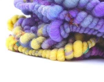 Handspun art yarn - BFL wool and Luxurious fibers / Bubble plied super uber bulky