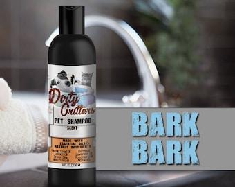 Bark Bark Herbal Pet Dog Cat Shampoo Wash Dirty Critters 8 ounce bottle