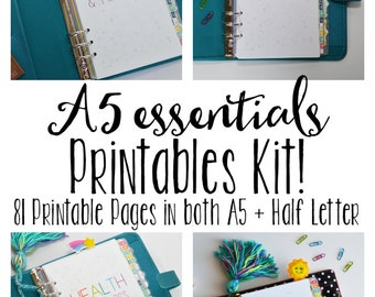 A5 Printable Planner, Printable Inserts, Meal Planning, Cleaning, Budgeting, & Fitness Inserts! 81+Pages!!