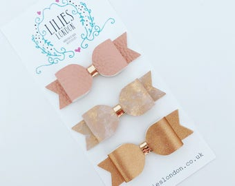 Bronze and gold hair bows