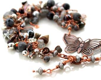 copper butterfly bracelet / grey gemstone / labradorite / and glass wire wrapped adjustable anklet or bracelet /