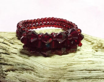 Red Crystal Ring Crystal Beaded Ring Red Beaded Ring Beaded Ring Seed Beaded Ring Swarovski Bead Ring Beadwoven Ring Size 7 1/2 Ring