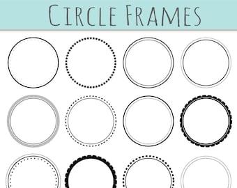 CLIP ART: 12  Digital Scrapbook Frames // Circle Clipart // Decorative Border // Supplies Teachers // Vector // Transparent  // Commercial