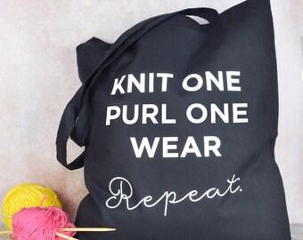 Knitting bag,  gift for knitter, funny knitting bag, knitting wool bag, funny knitting tote bag