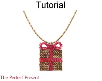 Christmas Beading Pattern - Holiday Jewelry Making - Beaded Necklace Tutorial - Present - Simple Bead Patterns - The Perfect Present #17302
