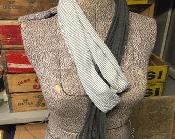 Plain Jersey Scarf - Dark Grey/Light Grey Stripe