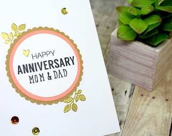 Handmade Parents Anniversary Card - Wedding Anniversary Card for Parents - Happy Anniversary Card - Anniversary Mom Dad - Card for Wife