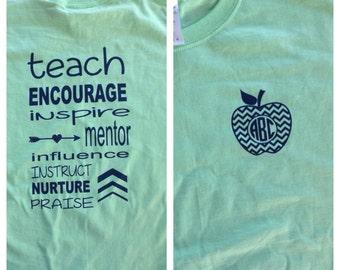 Teacher shirt, Teacher gift, monogrammed teacher gift, teacher shirt, teacher shirt, monogrammed teacher shirt