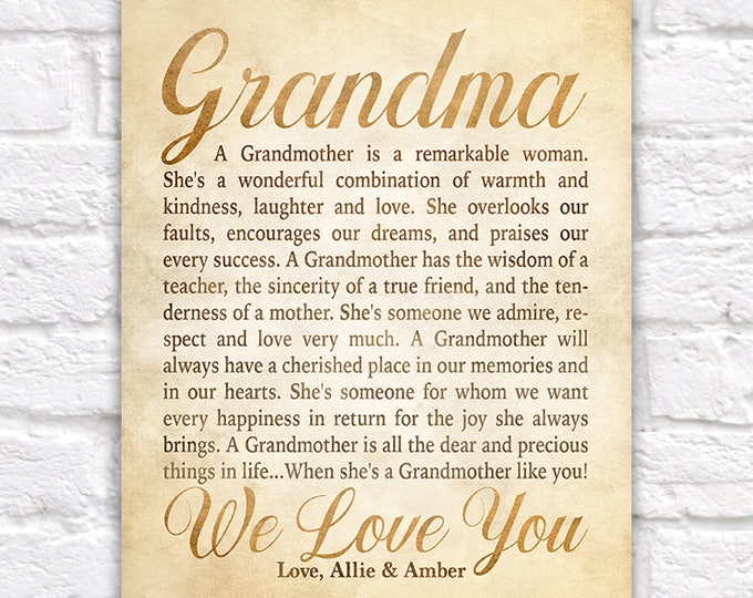 Featured listing image: Gift Idea for Grandmother, Poem for Grandmar, Personalized Letter from Grandchildren, Grandkids, Poem about Grandmas, Nana Birthday | WF586